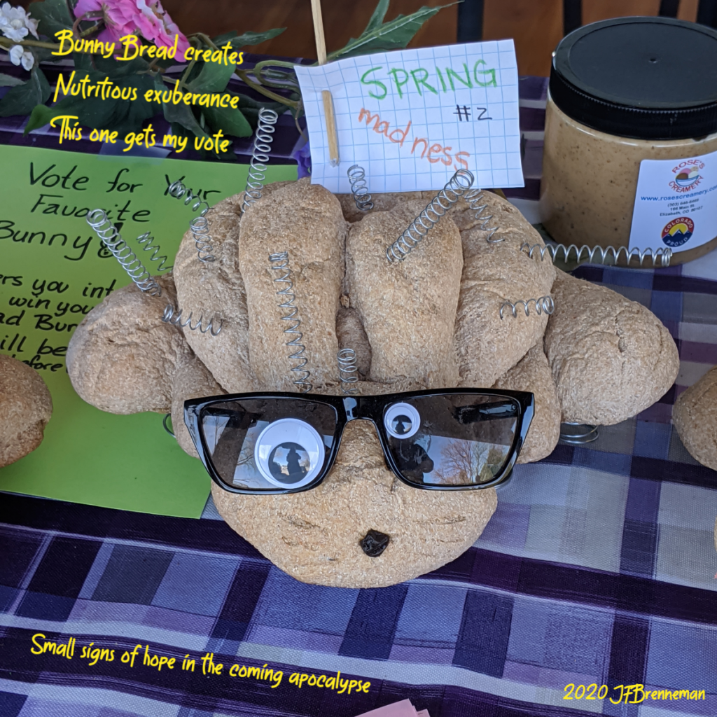 Great Harvest wheat bread shaped and baked to look like a bunny, with silly decorations to give it a goofy personality; small placard with vote for your favorite bunny; text overlaid on image