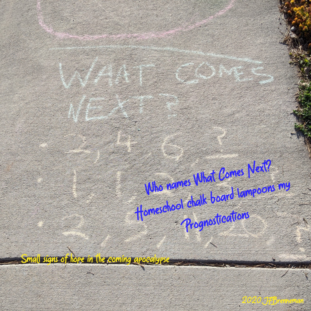 Number sequence puzzle written in chalk on sidewalk (What comes next? 2, 4, 6, ? plus more); text overlaid on image.