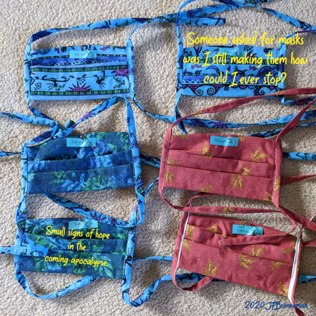 6 home-made cloth masks; text overlaid on image
