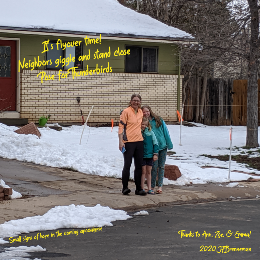 Mom and 2 daughters stand close together at end of driveway, laughing for the camera; text overlaid on image