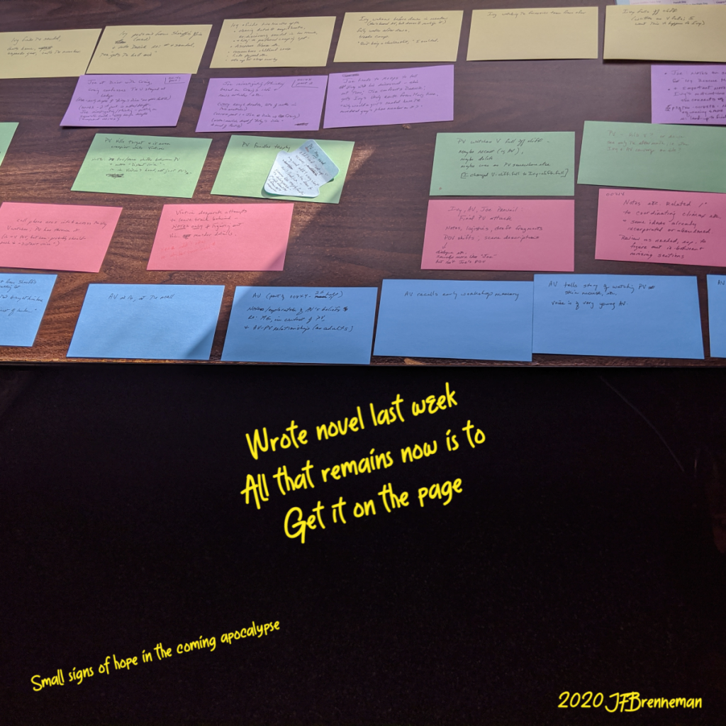 different colors of 3 by 5 cards arrayed on tabletop, scraps on writing on each; text overlaid on image.