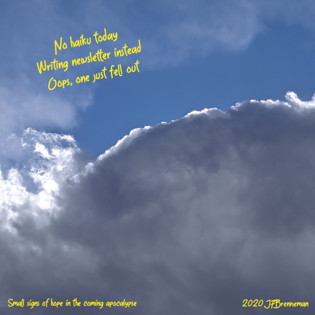 dense cloud backlit and limned by sunlight; text overlaid on image