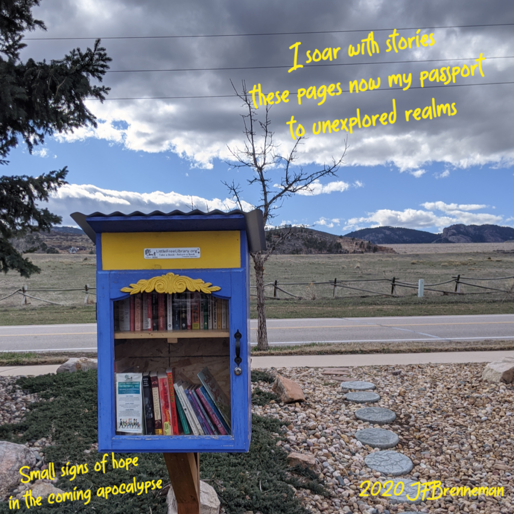 Little Lending Library box with fields, mountain range, and partly cloudy sky in background; text overlaid on image