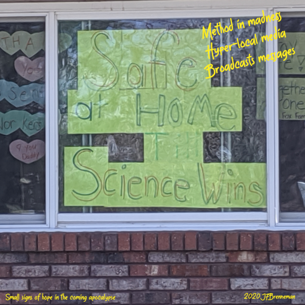 "handmade sign in house window, ""Safe at Home till Science Wins""; haiku overlaid on image."