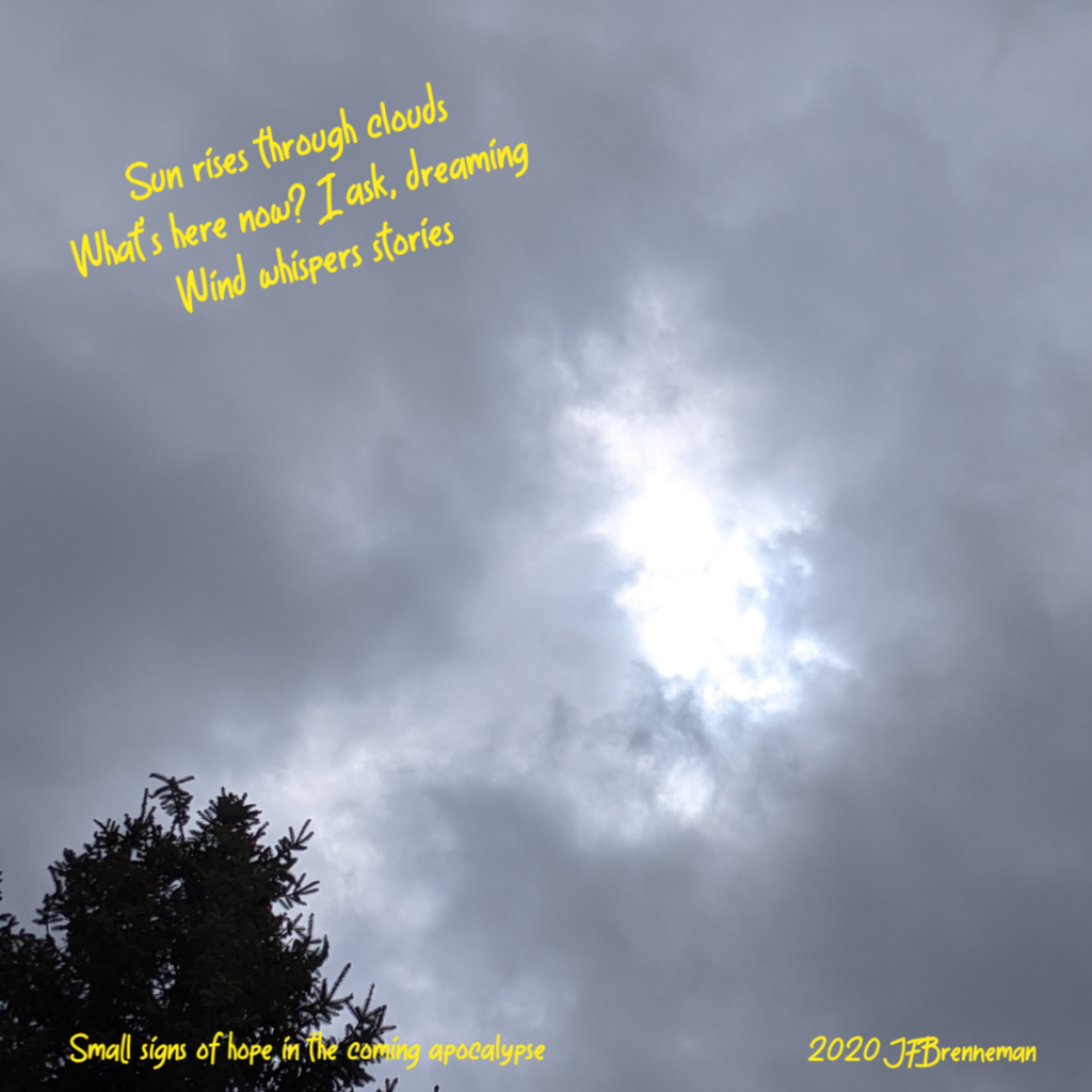 mid-morning sun shining through small hole in dense clouds; text overlaid on image