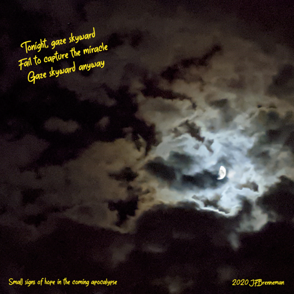 Bright half-moon surrounded by moonlit clouds and shadows in night sky; text overlaid on image