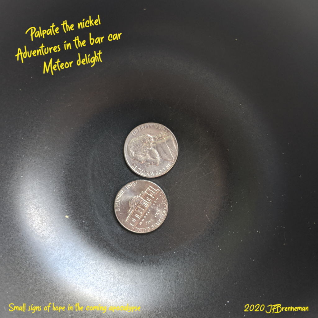 2 US nickels (one heads-up, one tail-up) in bottom of smooth black bowl; text overlaid on image