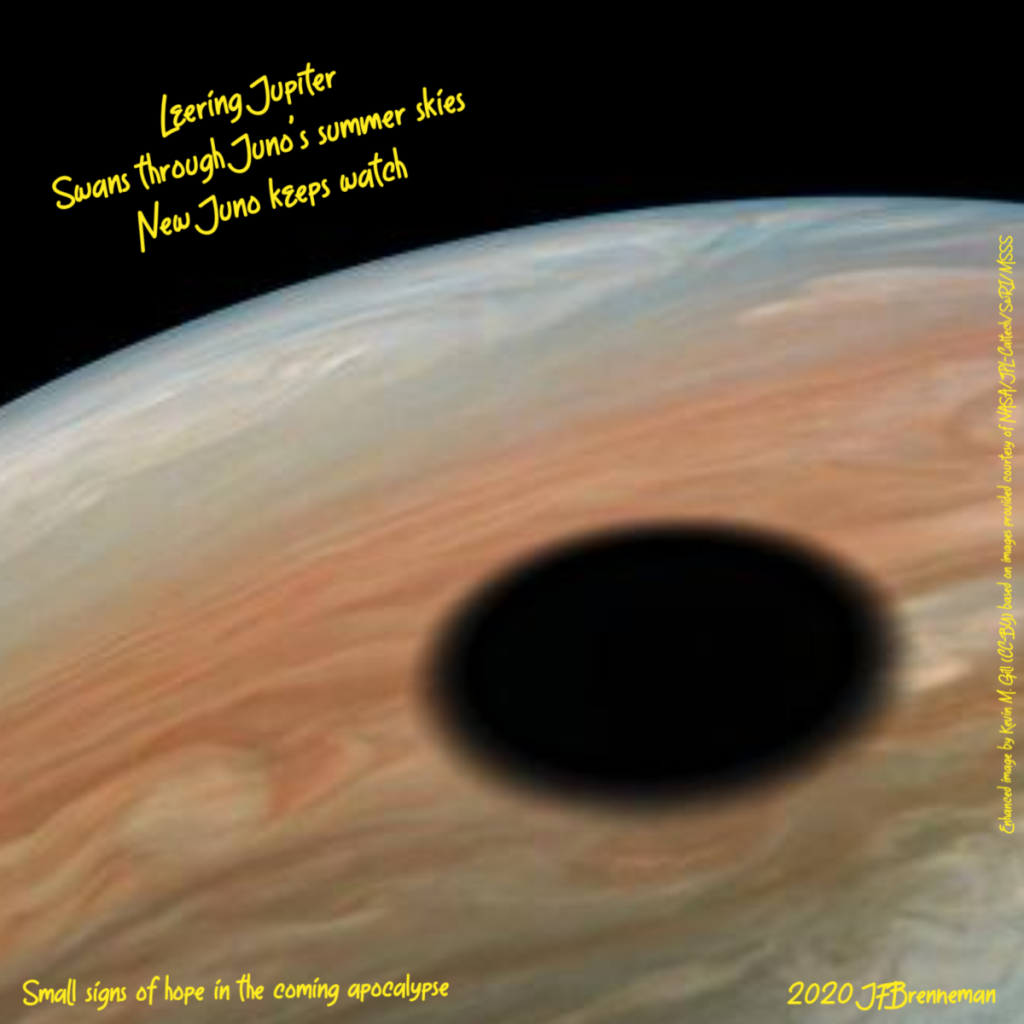 NASA Juno probe image of Jupiter, with shadow of Io on planet's surface; text overlaid on image
