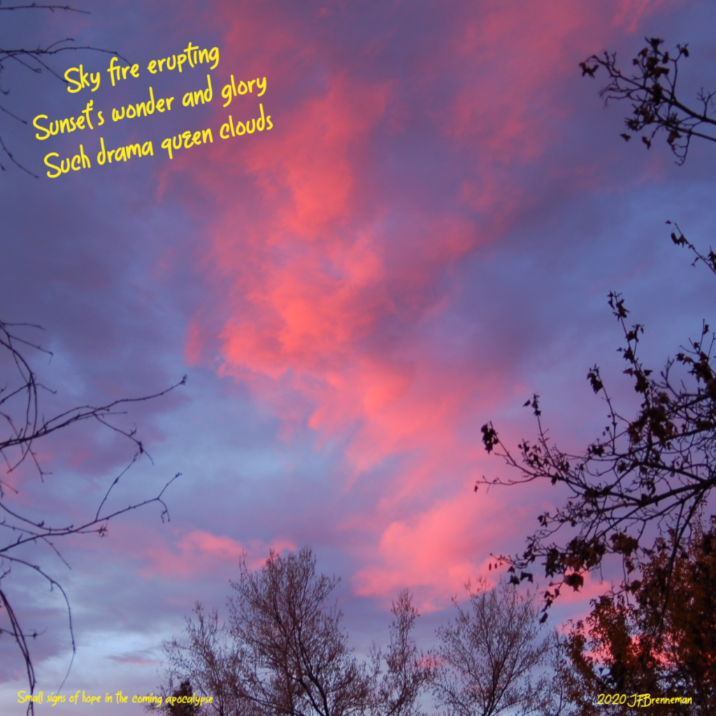 fiery red clouds streaming across evening twilight sky; text overlaid on image