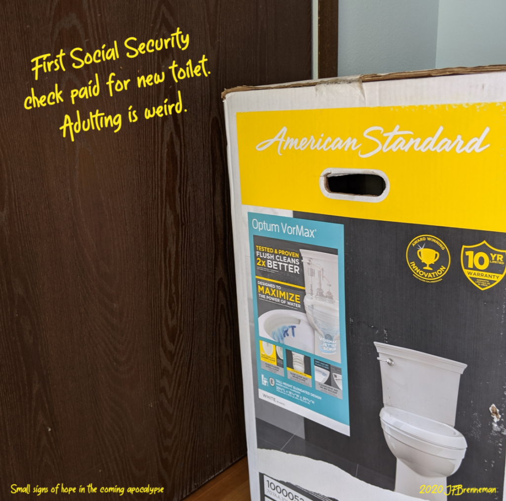 new flush toilet in shipping box; text overlaid on image