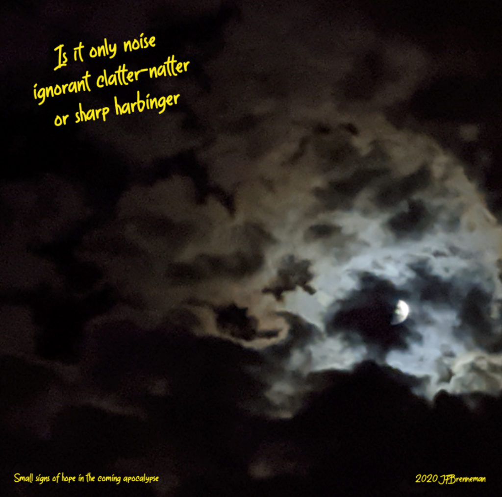Moonlight from half-moon reflecting and silhouetting clouds in night sky; text overlaid on image