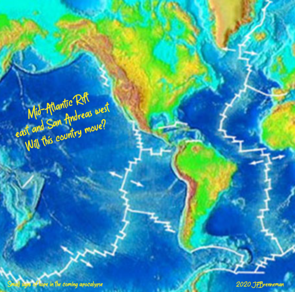 Illustration of western hemisphere with tectonic plate and fault lines; text overlaid on image