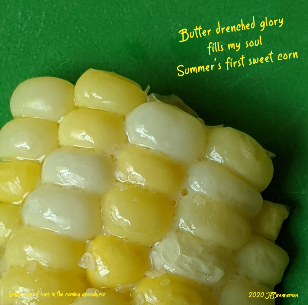 Buttered fresh sweet corn; text overlaid on image