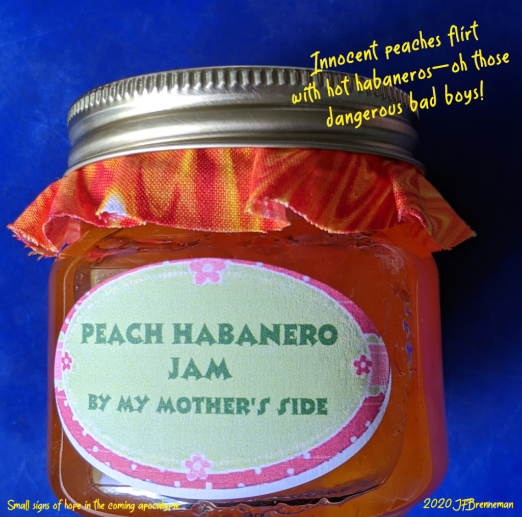Jar of homemade peach habanero jam; text overlaid on image