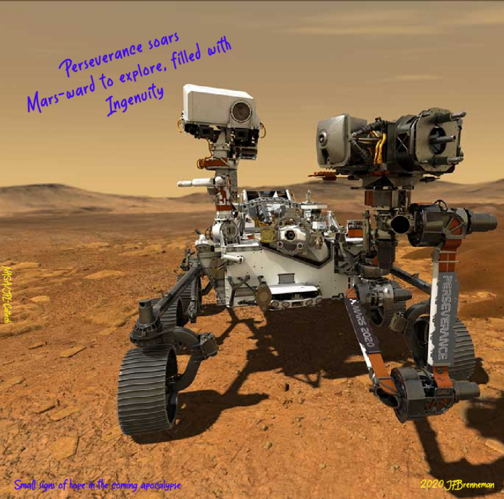 illustration depicting NASA's Perseverance rover operating on the surface of Mars; text overlaid on image