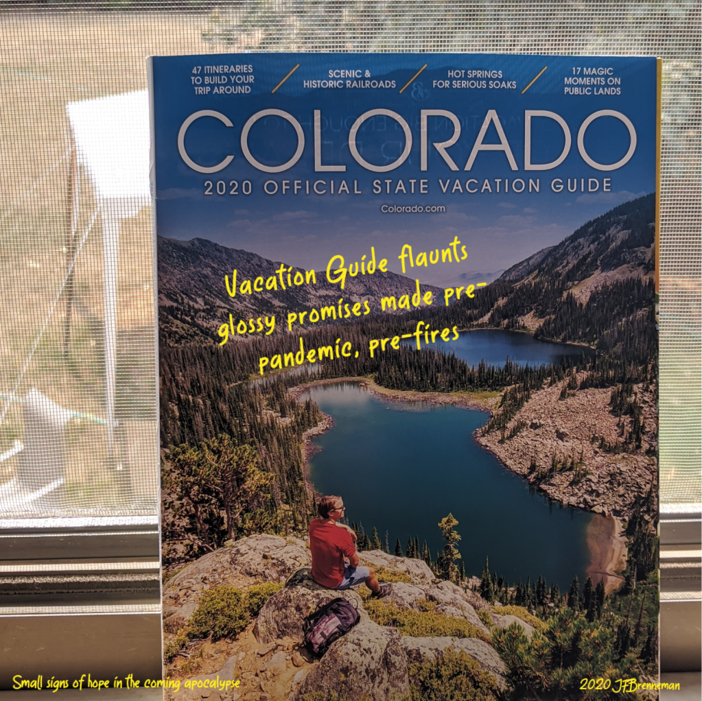 Colorado 2020 Offical State Vacation Guide; text overlaid on image