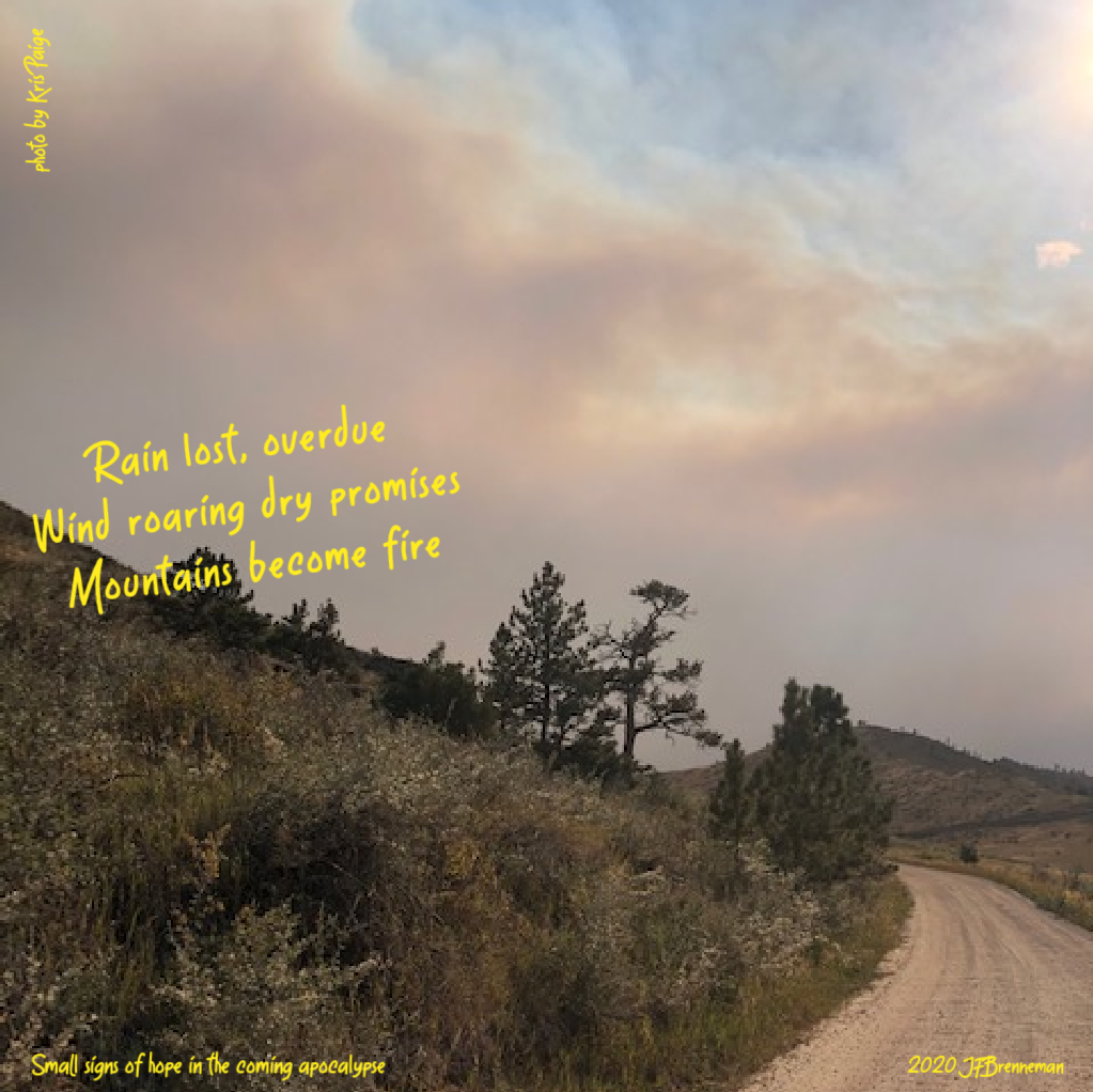 Clouds and smoke forming from day 1 of Cameron Peak Fire in Colorado; text overlaid on image