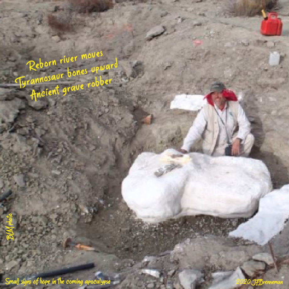 "Dr. Alan Titus at the ""Rainbows and Unicorns Quarry"" excavation site, GSENM, Utah; text overlaid on image"
