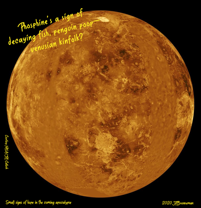 Image of Venus created from a composite of data from NASA's Magellan spacecraft and Pioneer Venus Orbiter, Courtesy NASA/JPL-Caltech; text overlaid on image.