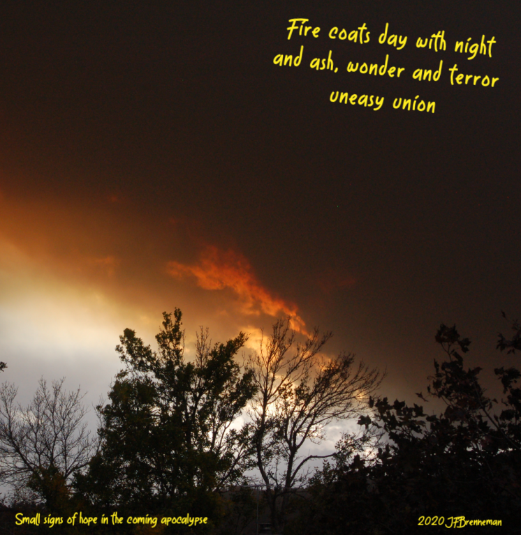 Wildfire clouds crowding out the sky; text overlaid on image