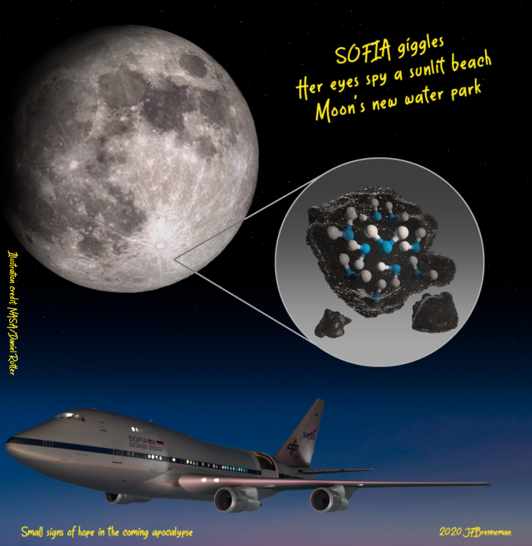 Illustration highlighting the Moon's Clavius Crater with an illustration depicting water trapped in the lunar soil there, plus image of NASA's Stratospheric Observatory for Infrared Astronomy (SOFIA) that found sunlit lunar water.