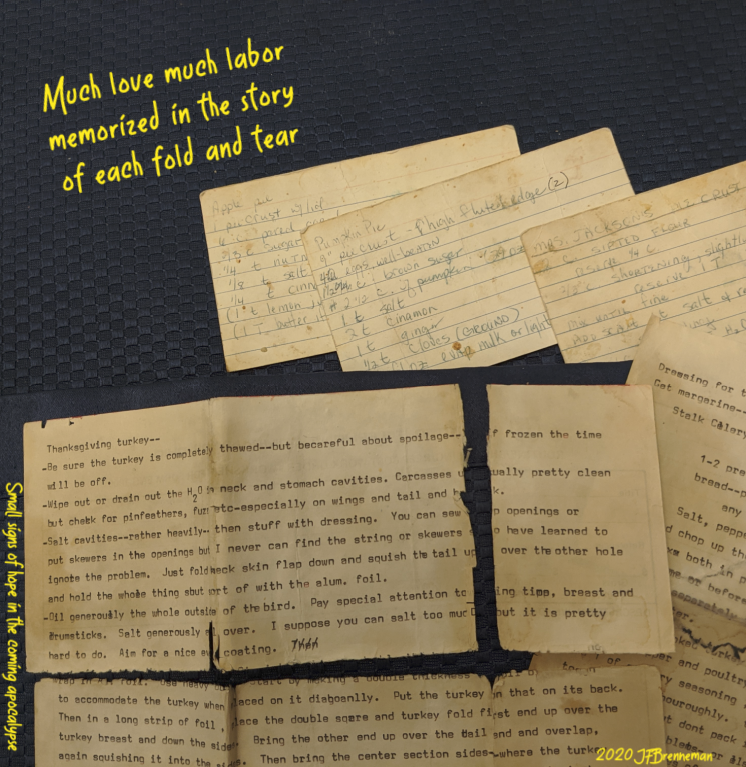Tattered, stained recipes for roast turkey and pumpkin and apple pie; text overlaid on image