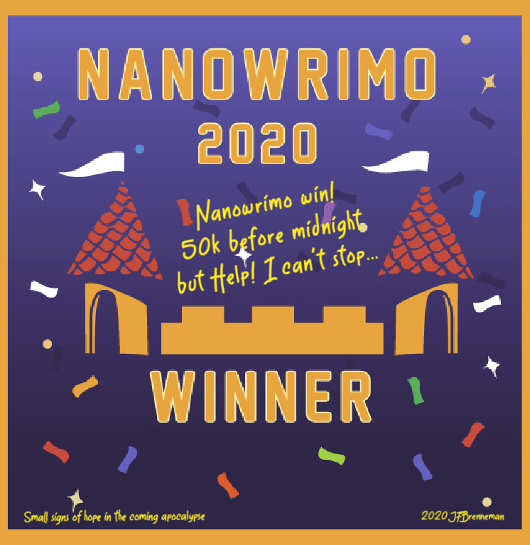 2020 Nanowrimo winner's badge; text overlaid on image