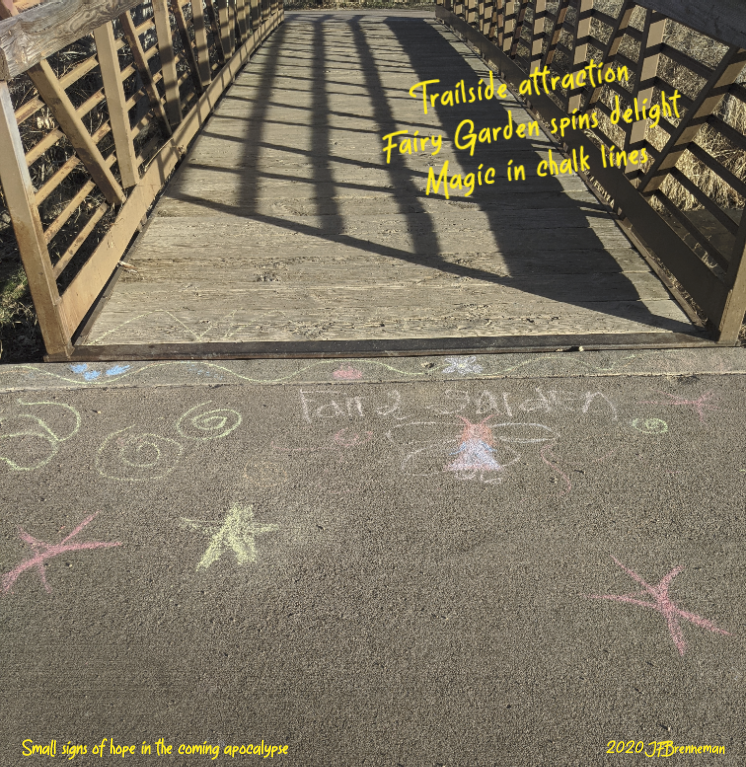 "Child's sidewalk drawings of ""Fairy Garden""; text overlaid on image"